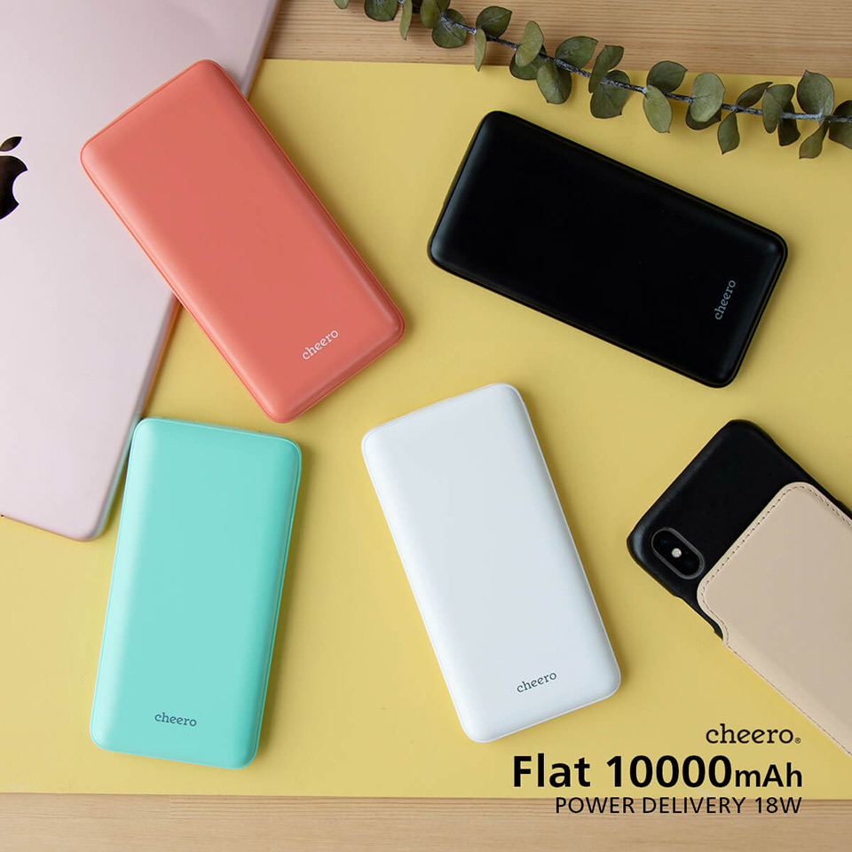 cheero Flat 10000mAh with Power Delivery 18W