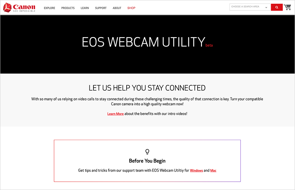 EOS Webcam Utility Beta